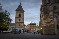 Kosice, Slovakia. Kosice, Slovakia - August 11, 2018: Urban`s Tower next to the cathedral in the main square of Kosice city in eastern Slovakia Stock Image