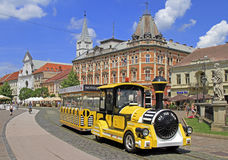 Yellow touristic train in the center of Kosice, Slovakia Royalty Free Stock Photos