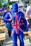 British hockey fan. KOSICE, SLOVAKIA - MAY 11: British hockey fan in centre of city during  2019 IIHF World Championship on May 11, 2019 in kosice royalty free stock images
