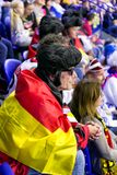 German fans in city Kosice during ice hockey championship 2019. KOSICE, SLOVAKIA - MAY 11: German hockey fans in hockey arena during  2019 IIHF World royalty free stock image