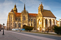 Kosice, Slovakia. St. Michael chapel and St. Elisabeth cathedral in the main square of Kosice city in eastern Slovakia Royalty Free Stock Images