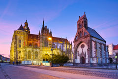 Kosice, Slovakia. St. Michael chapel and St. Elisabeth cathedral in the main square of Kosice city in eastern Slovakia Stock Image