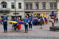 Kosice Slovakien - Maj 08, 2016: Den kostymerade festmåltiden Royaltyfri Bild