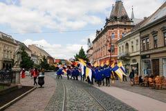 Kosice Slovakien - Maj 08, 2016: Den kostymerade festmåltiden Arkivbild