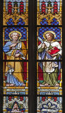 Kosice - Windowpane of Saint Elizabeth gothic cathedral. The apostle Peter and Bartholomew Stock Photography