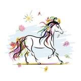 Koński nakreślenie z kwiecistą dekoracją dla twój Obraz Stock