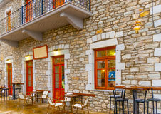 In Kosmas village in Greece. Beautiful old buildings around he pictorial square of Kosmas village in southern Peloponnese in Greece Stock Photo
