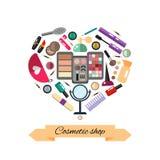 Kosmetik bilden Gegenstände - flache Illustration des Vektors der runden Form Lizenzfreie Stockfotografie