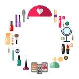 Kosmetik bilden Gegenstände - flache Illustration des Vektors der runden Form Stockbilder