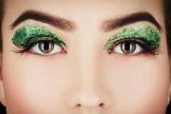 Kosmetik des grünen Auges Stockbild
