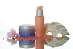 Kosmetik eingestellt: Lotion füllt w ab lizenzfreie stockfotos