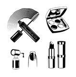 Kosmetik eingestellt Nagellack, Wimperntusche, Lippenstift, Lidschatten Vektor Lizenzfreies Stockfoto