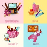 Kosmetik-Ikonen eingestellt Stockbilder
