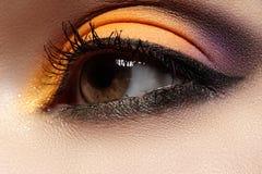 Kosmetik. Makromodeaugenmake-up, helle orientalische Art mit Eyeliner Lizenzfreie Stockfotografie