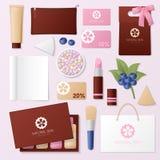 Kosmetik-Shop-Unternehmensidentitä5s-Schablonen-Satz Frauen-Schönheits-stationäres Modell Persönliches Einbrennen lizenzfreie abbildung
