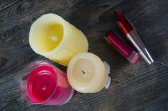 Kosmetik und Kerzen Lizenzfreies Stockfoto