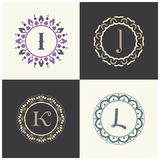 Kosmetik und Schönheitsproduktmarke beschriftet i- und J-Logodesign K und L Buchstabemonogramm Stockfoto