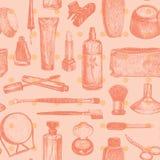 Kosmetik und Schönheits-nahtloser Muster-Vektor Stockbilder