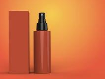 Kosmetikbehälter, Flasche mit Paket auf buntem Hintergrund Abbildung 3D Stockfoto