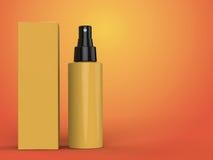 Kosmetikbehälter, Flasche mit Paket auf buntem Hintergrund Abbildung 3D Stockfotografie