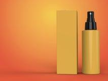 Kosmetikbehälter, Flasche mit Paket auf buntem Hintergrund Abbildung 3D Lizenzfreie Stockbilder
