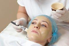 Kosmetiker angewendet mit einer Bürstengesichtsmaske Stockbild