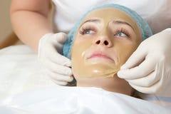 Kosmetiker angewendet mit einer Bürstengesichtsmaske Lizenzfreies Stockbild