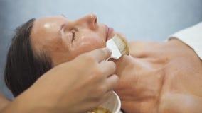 Kosmetiker, der weiche Bürste mit Maske nahe Kundengesicht hält stock video footage