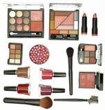 Kosmetikpinsel und -zubehör Stockfotos