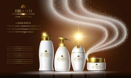 Kosmetikschönheits-Reihe, Anzeigen des erstklassigen Shampoos, Seife, Creme für Hautpflege Schablone für Designfahnen, Vektorillu Stockbild