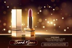 Kosmetikschönheits-Reihe, Anzeigen des erstklassigen weiblichen Lippenstifts für Hautpflege Schablone für Entwurfsplakat, Plakat, lizenzfreie abbildung