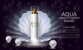 Kosmetikschönheits-Reihe, erstklassige Körper Perlen-Sprayverpackung für Hautpflege Schablone für Designfahnen, Vektorillustratio stock abbildung