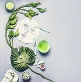 Kosmetisch en gezichts het bladmasker van de huidzorg Divers serum, room en gelschoonheidsmiddelenproduct met tropische bladeren  royalty-vrije stock foto