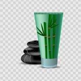 Kosmetisch pakket vectorontwerp Lichaamslotion, bevochtigende room, gel met bamboeuittreksel vector illustratie