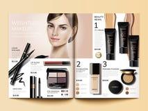 Kosmetisch tijdschriftmalplaatje vector illustratie