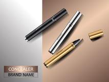 Kosmetische advertenties Premie zilveren gouden en zwarte camouflagestiften op abstracte metaalachtergrond Gezicht en huidzorg Stock Foto