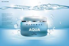 Kosmetische Anzeigenschablone Aqua Cream Moisturizings Hydratisierende Gesichtslotion Realistische Illustration des Modells 3D fu stock abbildung