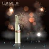 Kosmetische Anzeigenschablone, das Design, Sprühflasche annoncierend und verfallen im Staub, unter dem Nebel und dem bokeh Stock Abbildung
