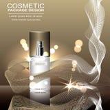 Kosmetische Anzeigenschablone, Design annoncierend, Sprühflasche auf bokeh Hintergrund Lizenzfreie Stockfotos