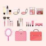 Kosmetische Ausrüstungen eingestellt Lizenzfreies Stockbild