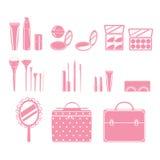 Kosmetische Ausrüstungen eingestellt, einfarbig Stockfotos