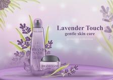 Kosmetische banner met 3d realistische flessen Model voor het bevorderen van uw merk royalty-vrije illustratie