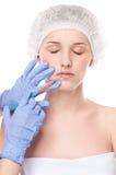 Kosmetische botoxinjectie in gezicht royalty-vrije stock foto