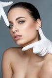 Kosmetische chirurgie Mooie Vrouw vóór Plastic Verrichting beau stock afbeelding