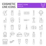 Kosmetische dünne Linie Ikonensatz, Make-upsymbole Sammlung, Vektorskizzen, Logoillustrationen, Schönheitszeichen linear stock abbildung