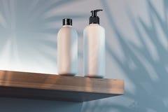 Kosmetische die Fles voor room, lotion wordt geplaatst Lege plastic containers het 3d teruggeven royalty-vrije illustratie