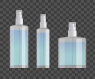 Kosmetische die nevelflessen op geruite achtergrond worden geplaatst Kleine, grote en brede flessen Realistisch vectorontwerp Stock Foto