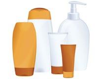 Kosmetische flessen, zonbescherming Stock Foto