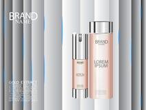 Kosmetische flessenadvertenties Nevelfles met abstracte lijnen op achtergrond Royalty-vrije Stock Foto