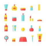 Kosmetische geplaatste pictogrammen Stock Fotografie